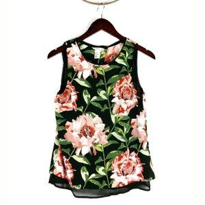 H&M floral layered chiffon split back top